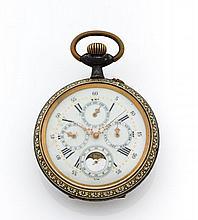 ANONYME Vers 1900 Régulateur de chemin de fer en acier. Boîtier rond. Cadran émail avec indication jour, mois, date et phase de...