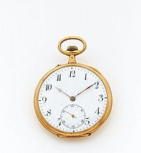 ANONYME N° 1805216. Vers 1930 Montre de poche en or. Boîtier rond. Cadran émail blanc (fêles) avec petite trotteuse à 6 heures....