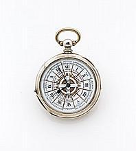 BERARD à GY N° 16481 vers 1880 Montre de poche en argent. Boîtier rond. Cadran 2 tons émail blanc (fêles) et or à secteur avec c...