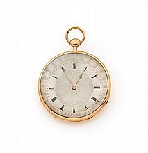 ANONYME Belle montre de poche en or rose. Boitier rond. Cadran argent gilloché avec chiffres romains peints. Mouvement méchanique....
