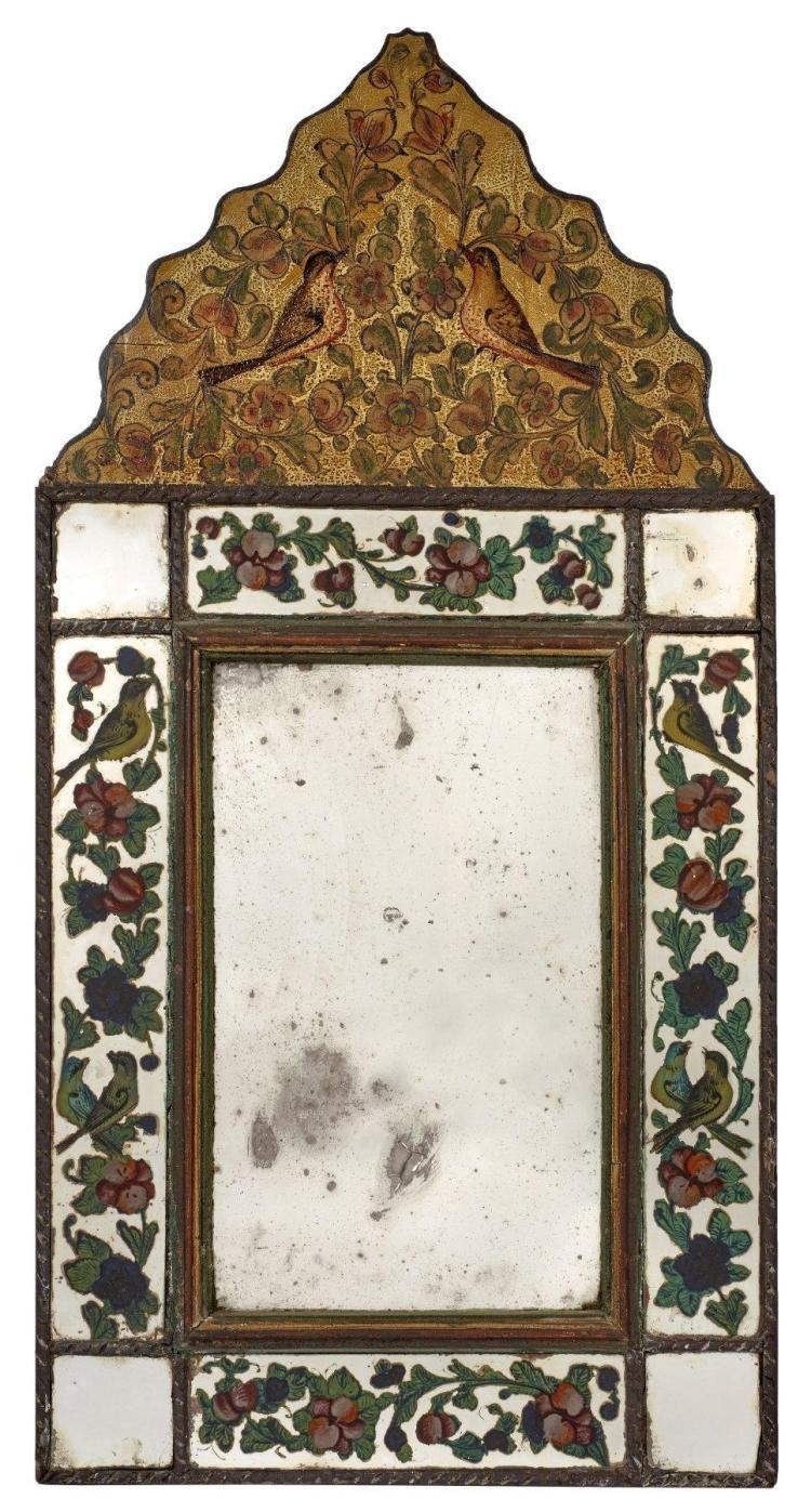 Miroir en bois et fix sous verre iran art qajar 19e 20e for Miroir et verre concept