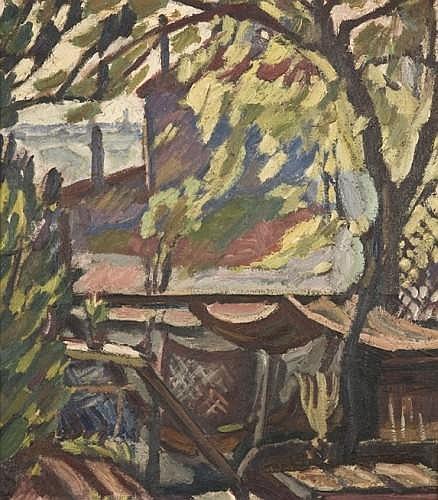 ¤Maurice LOUTREUIL (1885-1925) SOUS L'ARBRE DANS LE JARDIN (RUE DU PRE-SAINT-GERVAIS), circa 1920-1922 Huile sur toile