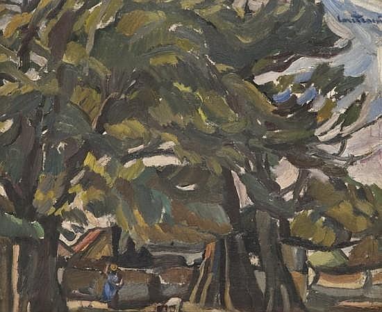 ¤Maurice LOUTREUIL (1885-1925) LES GRANDS ARBRES (SENEGAL OU GUINEE), CIRCA 1924 Huile sur toile