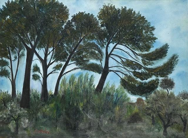 Isaac ANTCHER (Peresecina, Bessarabie 1899- Paris, 1992) PAYSAGE DE ST TROPEZ, circa 1926-1927 Huile sur toile