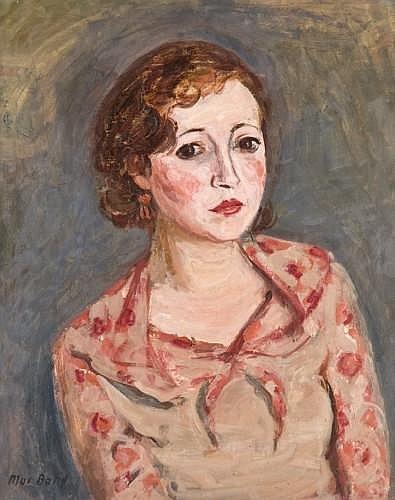 Max BAND (Naumestis, Lituanie 1900-New York, 1974) PORTRAIT DE FEMME EN ROSE Huile sur toile