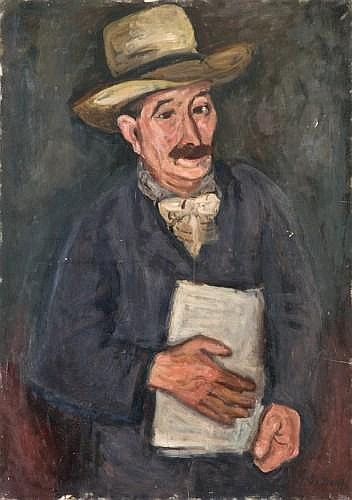 Max BAND (Naumestis, Lituanie 1900- New York, 1974) HOMME AU CHAPEAU Huile sur toile