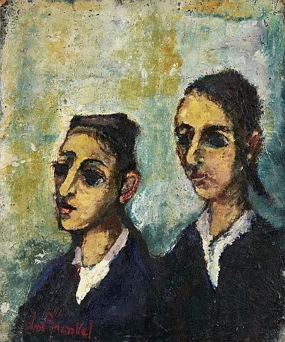 Boris BORVINE FRENKEL (Kalisz, Pologne 1895- Paris, 1984) LES DEUX TALMUDISTES Huile sur panneau d'isorel