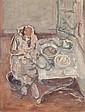Léopold GOTTLIEB (Drohobych, Galicie 1883- Paris, 1934) FEMME COUSANT Huile sur papier contrecollé sur panneau de bois, Leopold Gottlieb, Click for value