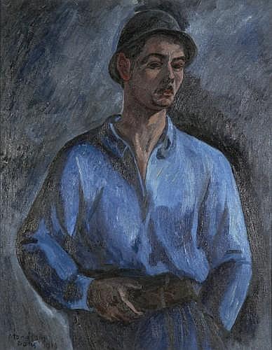 Simon MONDZAIN (Chelm, Pologne 1890- Paris, 1979) HOMME EN BLEU, 1919 Huile sur toile