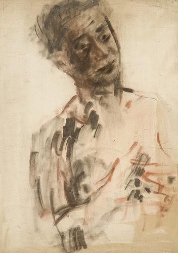 Joachim WEINGART (Drohobych, Galicie 1895 -Auschwitz, 1942) AUTOPORTRAIT Fusain et sanguine sur papier