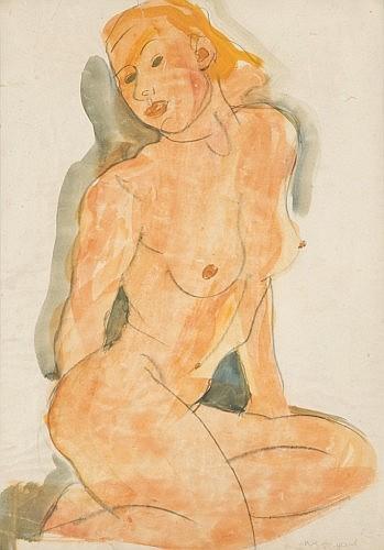 Joachim WEINGART (Drohobych, Galicie 1895 -Auschwitz, 1942) FEMME NUE Aquarelle et fusain sur papier