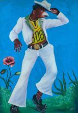 Pierre Bodo 1953 - 2015 Matswapanga - 2011 Acrylique et paillettes sur toile