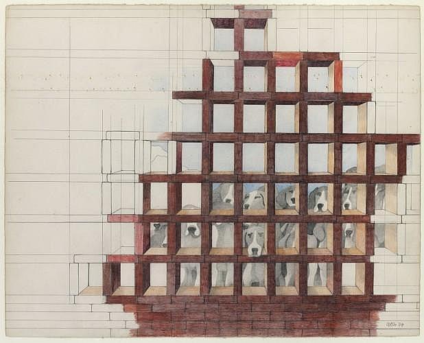 Henri CUECO (né en 1929) SANS TITRE, 1974 Dessin au crayon et crayons de couleurs sur papier