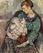 Mela MUTER (Varsovie, 1876 - Paris, 1967) MATERNITE Huile sur carton fort