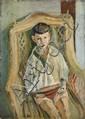 Lazare VOLOVICK (Kremenchug, 1902 - Paris, 1977) GARCON AU BATEAU Huile sur carton fort