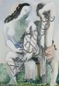 ¤ Ossip ZADKINE (Vitebsk, 1890 - Paris, 1967) DEUX FEMMES A LEUR TOILETTE Gouache sur papier