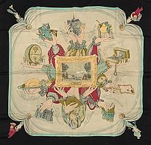 HERMES Paris Rare et beau carré en soie imprimée, titré