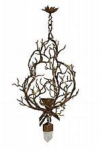 Hervé VAN DER STRAETEN (Né en 1965) Lustre - Circa 1996 Bronze doré et cristal de roche