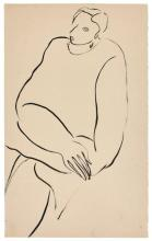 SANYU 1901 - 1966 Femme assise les bras croisés Encre sur papier