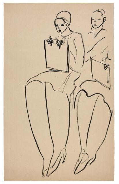 SANYU 1901 - 1966 Femmes assises tenant des cartons à dessin Encre sur papier