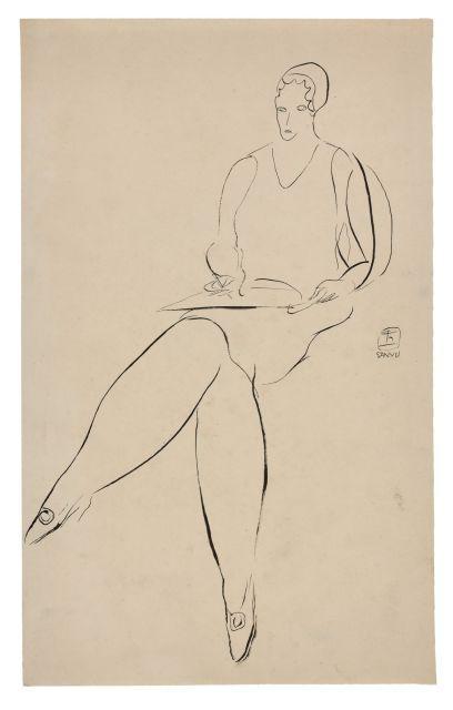 SANYU 1901 - 1966 Femme assise dessinant Encre sur papier