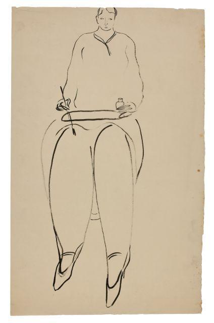 SANYU 1901 - 1966 Femme assise au pinceau et à l''encrier Encre sur papier