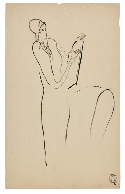 SANYU 1901 - 1966 Femme assise de profil dessinant - 1930 Encre sur papier