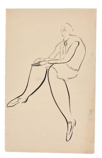 SANYU 1901 - 1966 Femme assise de profil Encre sur papier