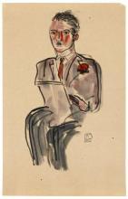 SANYU 1901 - 1966 Homme à la moustache - Circa 1920-1930 Aquarelle et encre sur papier