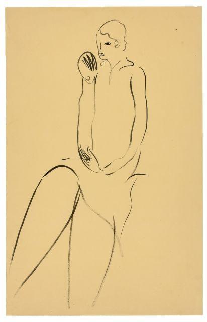 SANYU 1901 - 1966 Femme assise Encre sur papier