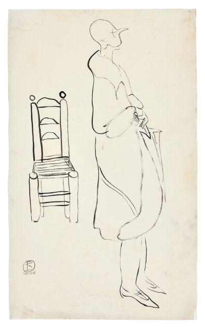 SANYU 1901 - 1966 Femme debout à la chaise Encre sur papier
