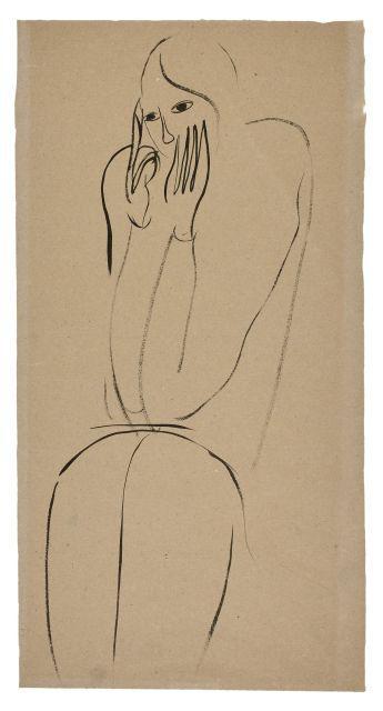 SANYU 1901 - 1966 Femme assise les mains au visage Encre sur papier