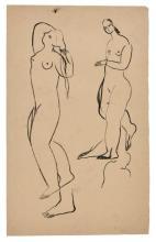 SANYU 1901 - 1966 Etude de nus Encre sur papier
