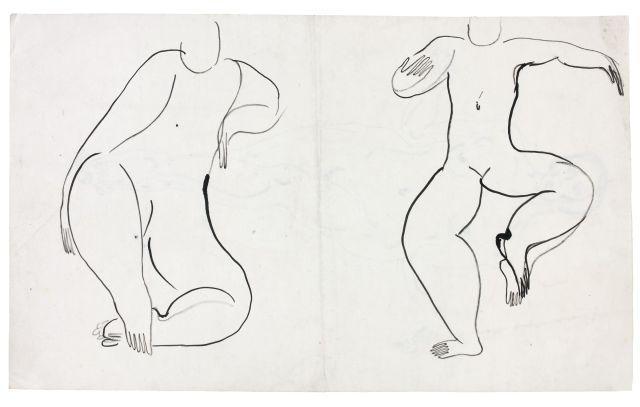 SANYU 1901 - 1966 Deux nus assis Encre sur papier
