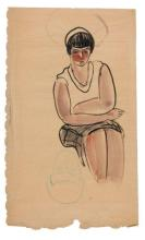 SANYU 1901 - 1966 Portrait d''une femme à la blouse blanche - Circa 1920-1930 Aquarelle et encre sur papier