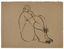 SANYU 1901 - 1966 Nu assis Encre sur papier
