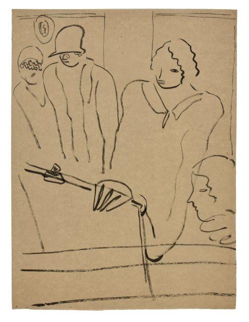SANYU 1901 - 1966 Femmes à la planche à dessin Encre sur papier