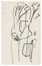 SANYU 1901 - 1966 Hommes en manteau Encre sur papier