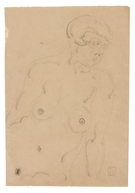 SANYU 1901 - 1966 Nu assis Crayon et fusain sur papier