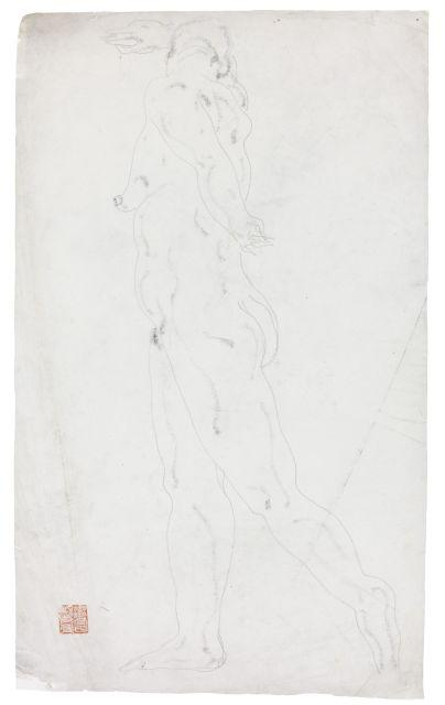 SANYU 1901 - 1966 Nu debout de profil Crayon et fusain sur papier