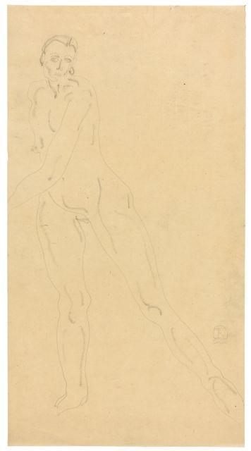 SANYU 1901 - 1966 Nu debout jambes écartées Crayon et fusain sur papier