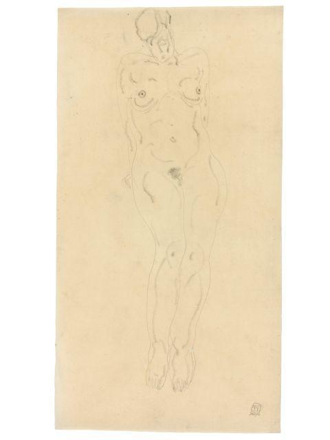 SANYU 1901 - 1966 Nu debout Crayon et fusain sur papier