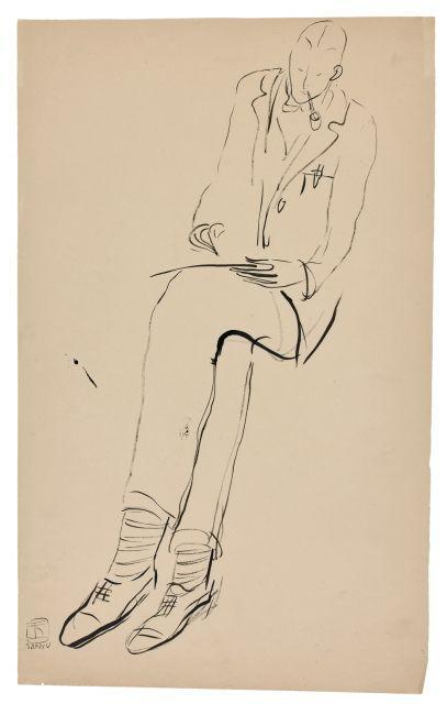 SANYU 1901 - 1966 Homme à la pipe dessinant Encre sur papier