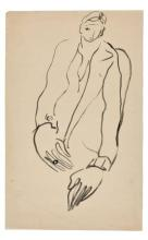 SANYU 1901 - 1966 Femme au manteau Encre sur papier