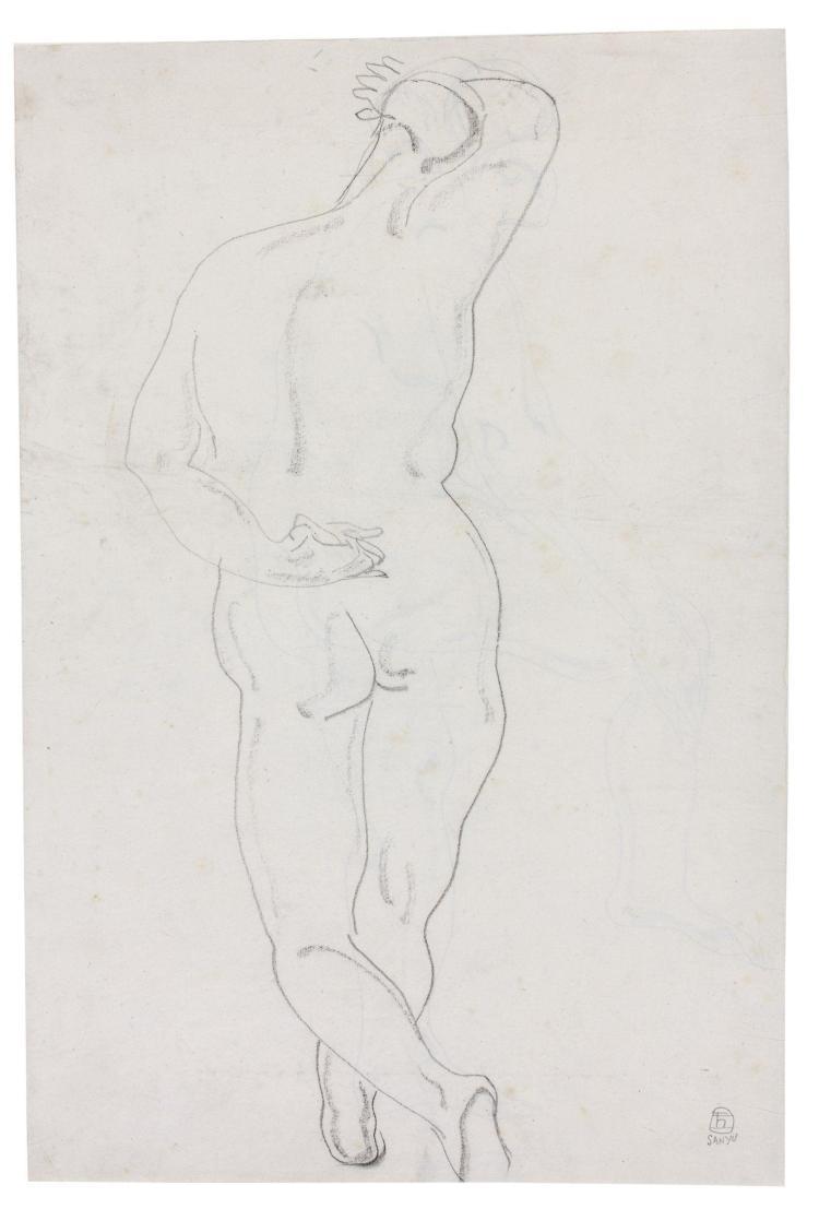 SANYU 1901 - 1966 Nu debout de dos Crayon et fusain sur papier
