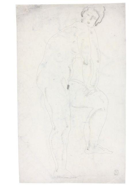 SANYU 1901 - 1966 Nu debout s''appuyant sur une jambe Crayon et fusain sur papier