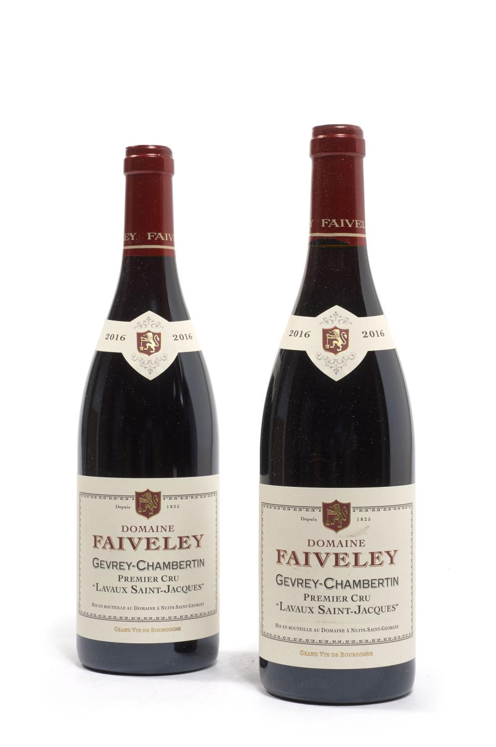 2 bouteilles GEVREY CHAMBERTIN 2016 1er cru Lavaux Saint Jacques. Domailne Faiveley