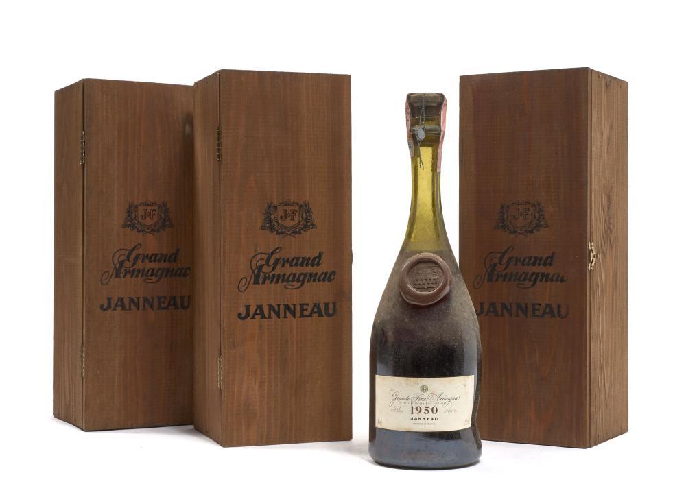 4 bouteilles ARMAGNAC JANNEAU 1950 Grand Fine Armagnac (70cl, 42° vol, mis en bouteille en mars 1987. Etiquettes léger tachées) Caisses