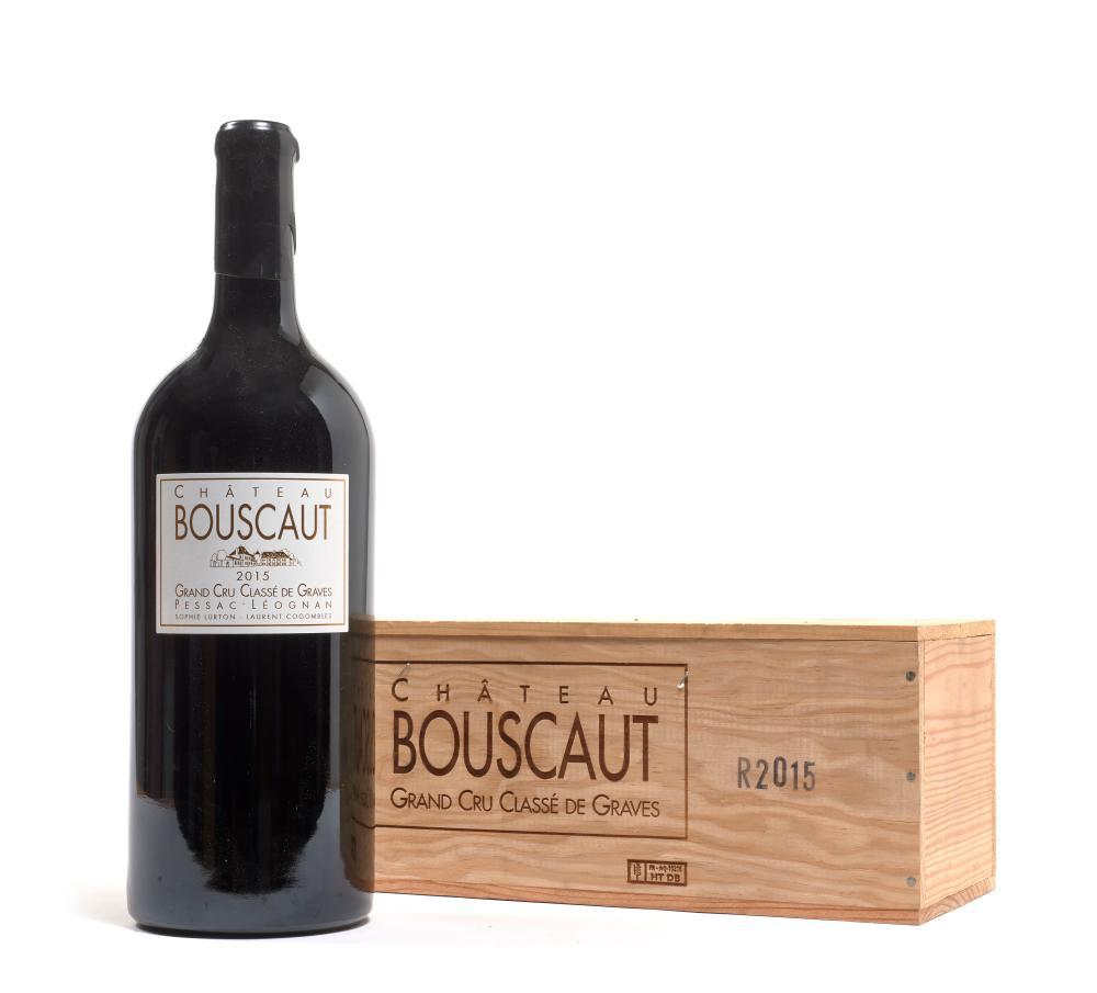 2 double magnums CHÂTEAU BOUSCAUT 2015 CC Graves (3 litres) Caisses bois d'origine (2 x 1)