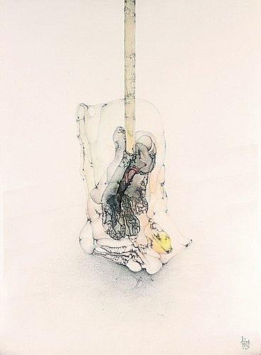 Fred DEUX (né en 1924) LA DECOMPOSEE Mine de plomb, lavis d'encre et pastels sur papier